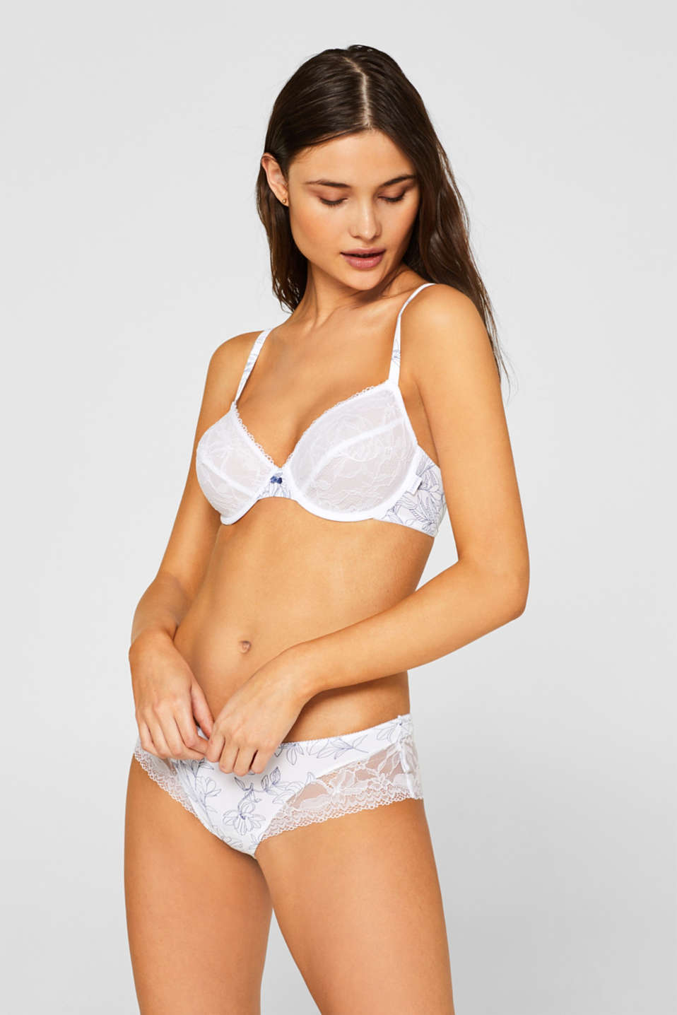 Esprit - Printed non-padded underwire bra with lace