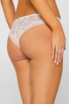 Brazilian hipster thong with print and lace