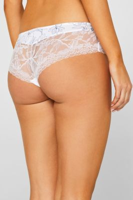 Brazilian hipster shorts with print and lace