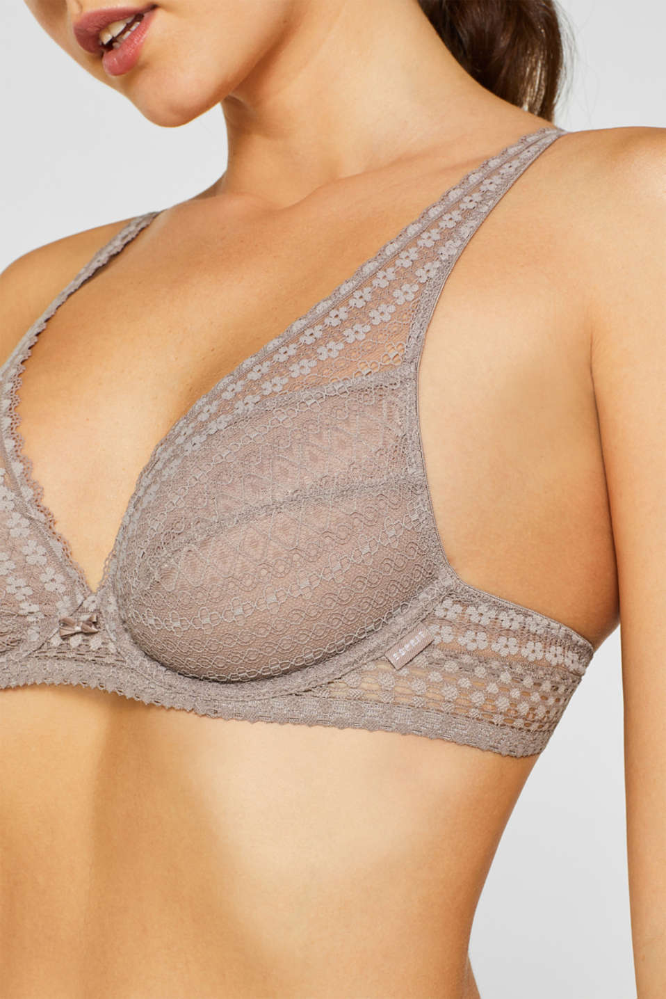Unpadded underwire bra made of fine lace, TAUPE, detail image number 2