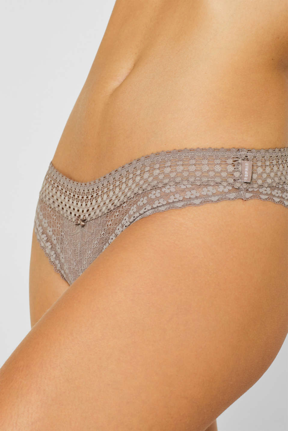 Brazilian hipster briefs made of fine lace, TAUPE, detail image number 1