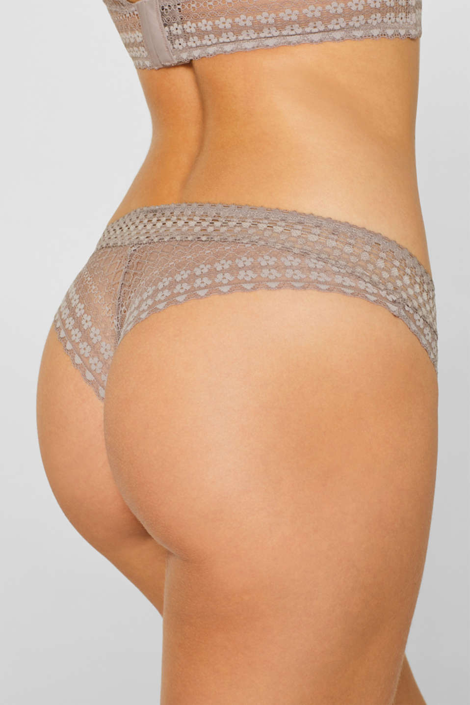 Brazilian hipster briefs made of fine lace, TAUPE, detail image number 3