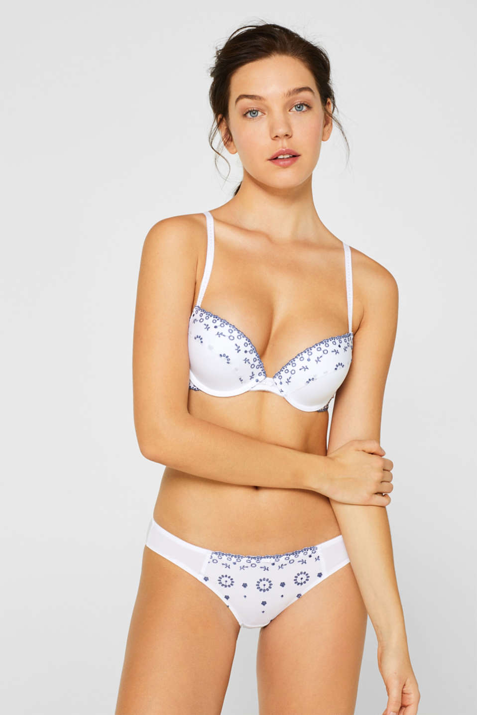 Esprit - Heavily padded push-up bra with broderie anglaise