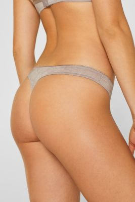 Hipster thong with a tonal floral print