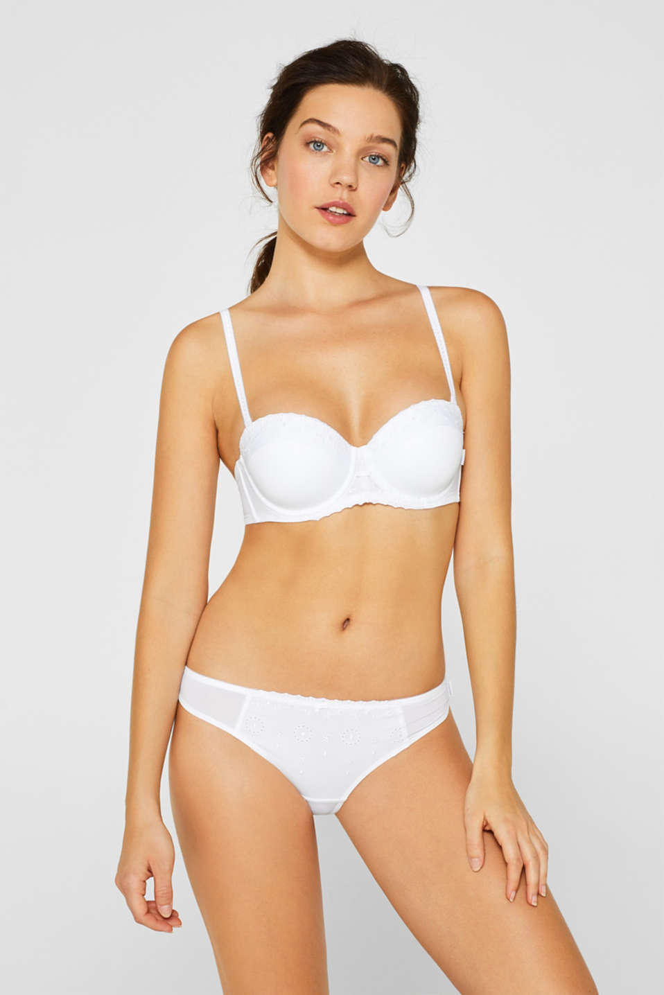 Padded underwire bra with detachable straps, WHITE, detail image number 0