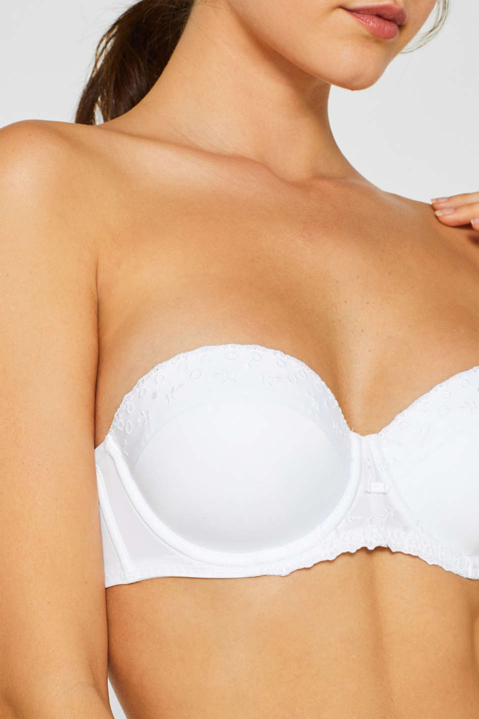 Padded underwire bra with detachable straps, WHITE, detail image number 2