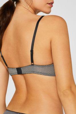 Unpadded underwire bra with minimal print