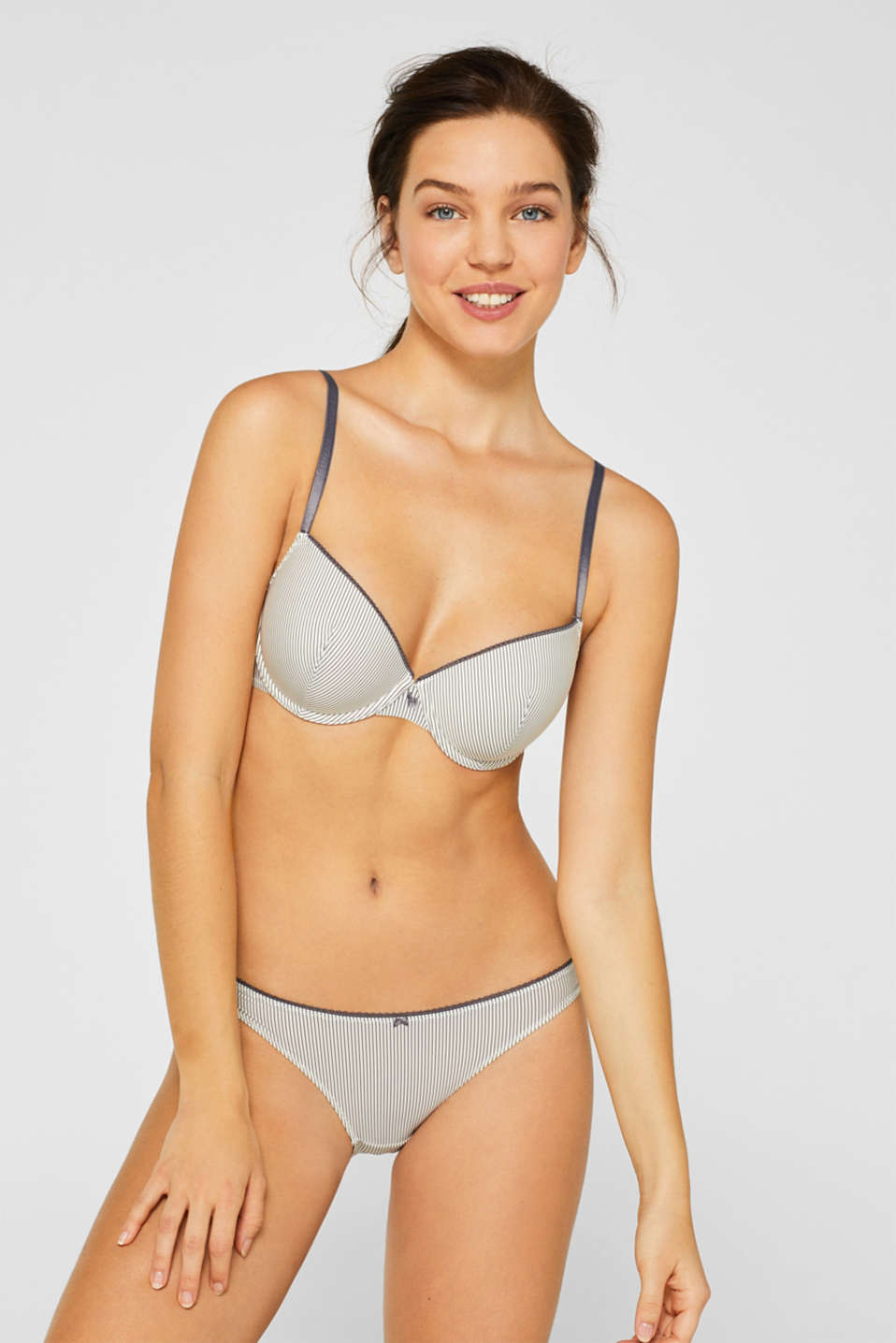 Padded underwire bra with fine stripes, OFF WHITE, detail image number 0