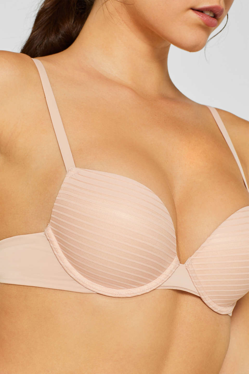 NYE push-up bra with textured stripes, PASTEL ORANGE, detail image number 2