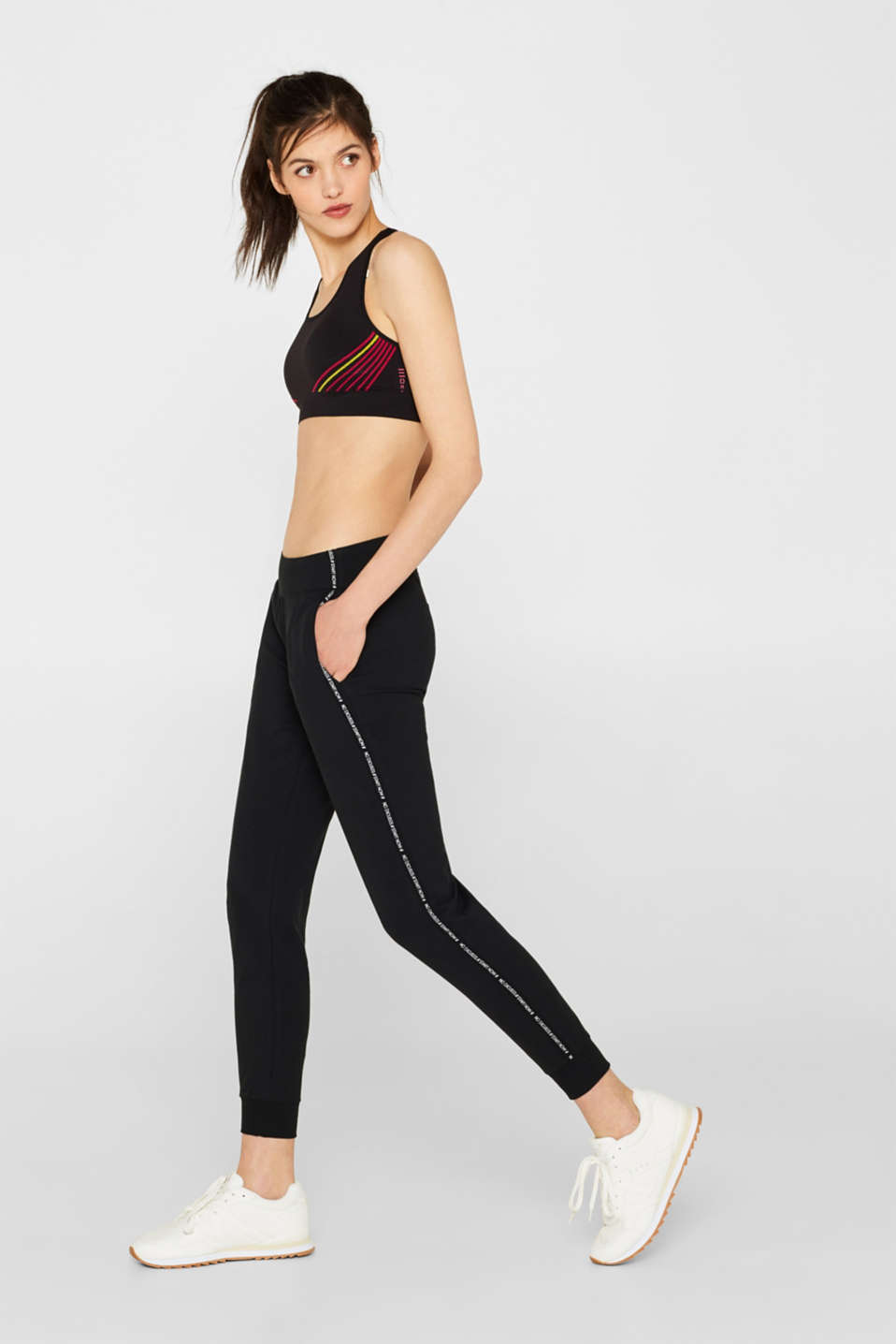 Esprit - Stretch tracksuit bottoms with racing stripes