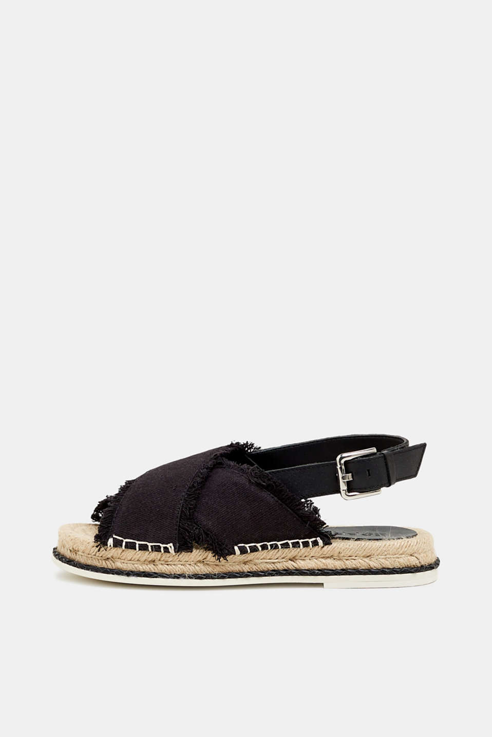 Esprit - Mixed material sandals with a bast sole