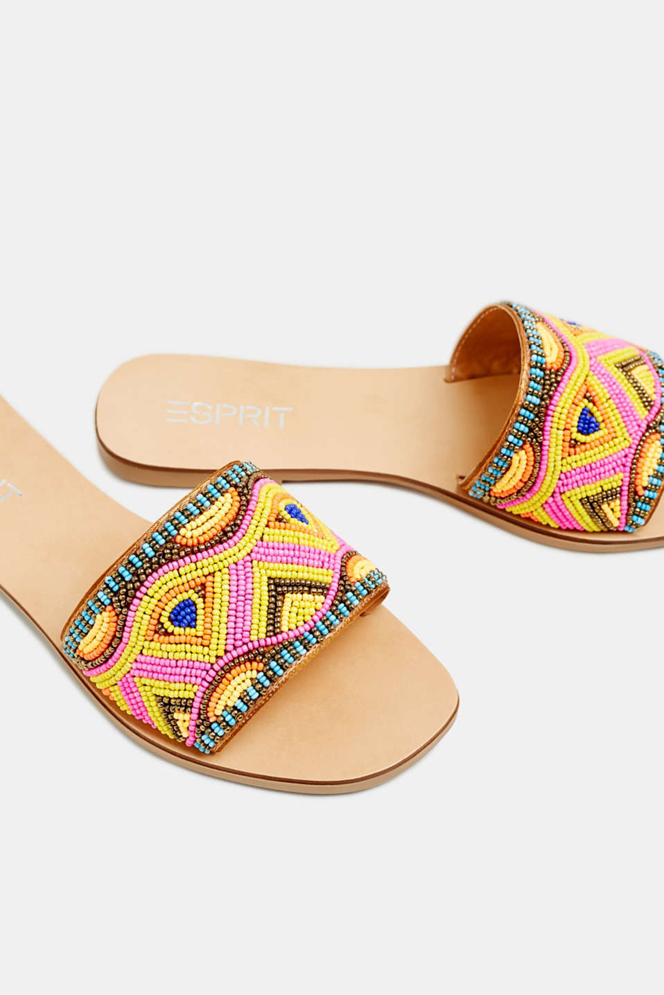 Slip-on sandals with appliquéd beads, YELLOW, detail image number 4