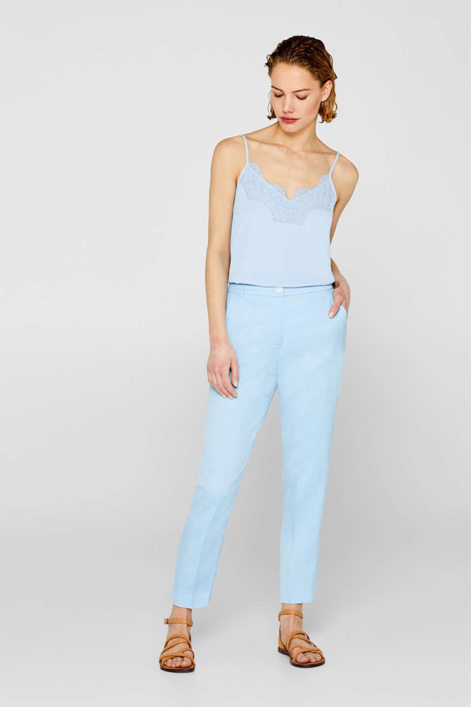 LINEN STYLE mix + match trousers with waist pleats
