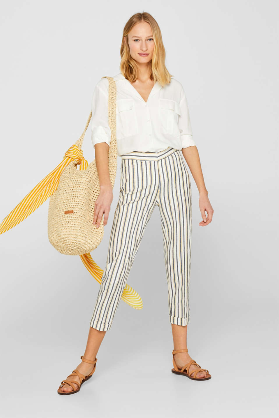 Stretch trousers with stripes