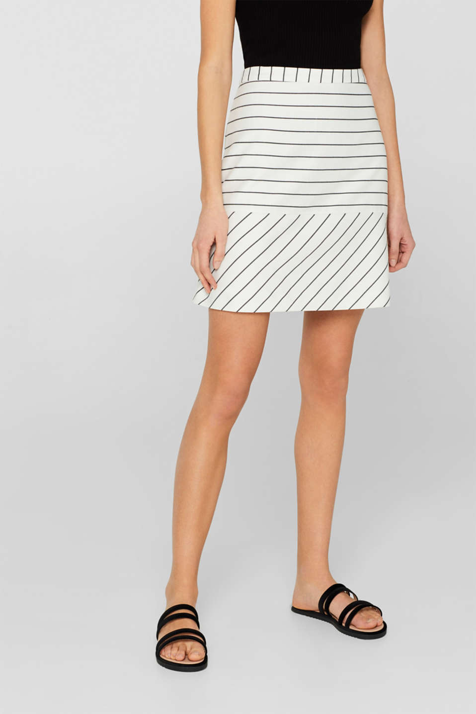 Esprit - Woven stretch skirt with two kinds of stripes