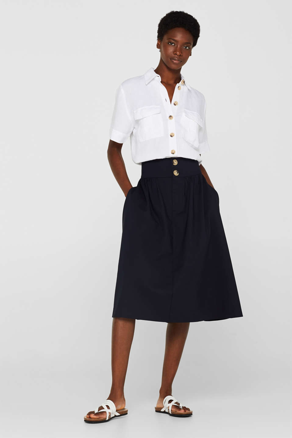 Esprit - Stretch midi skirt with a wide waistband