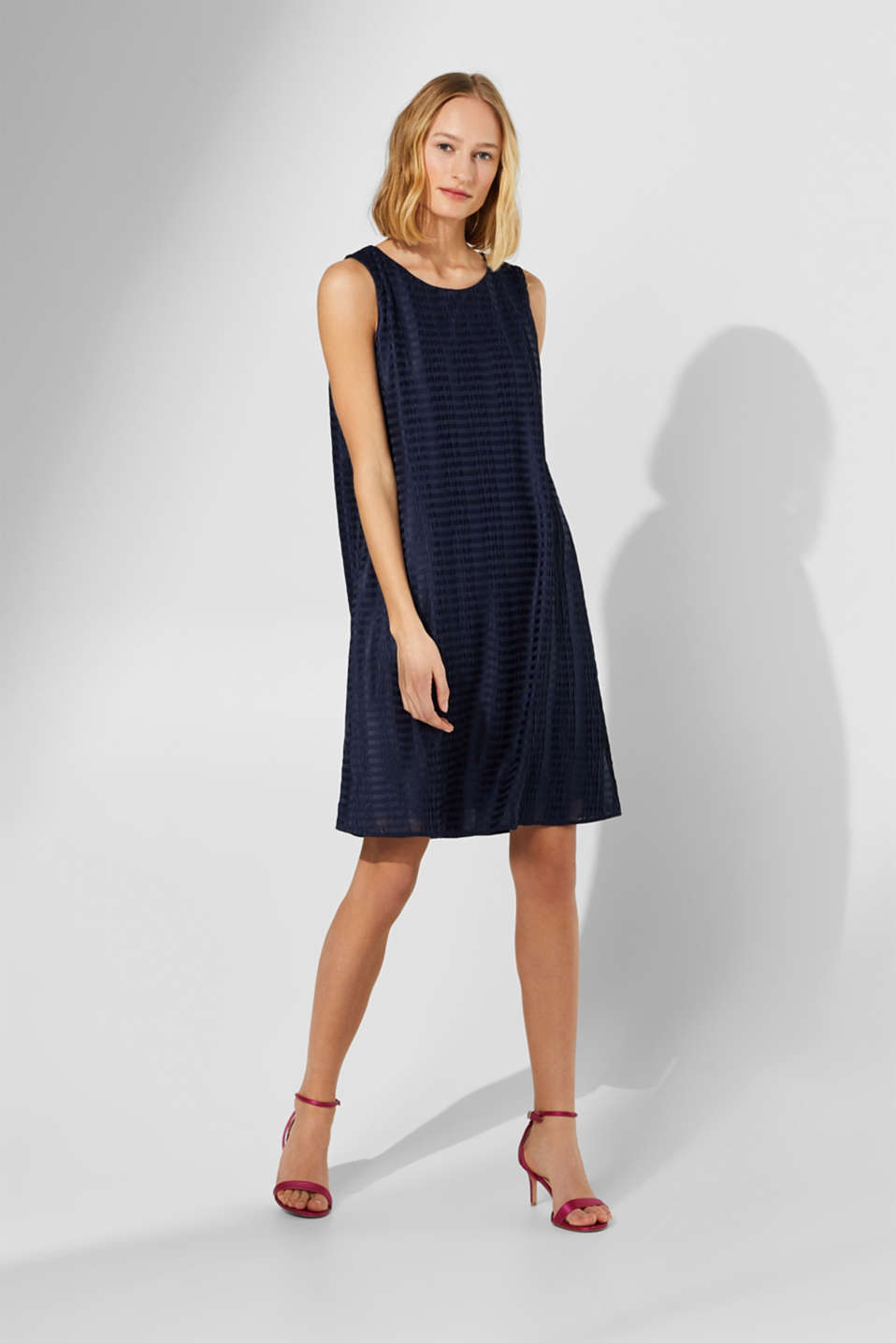 Esprit - Jersey dress with pleat texture