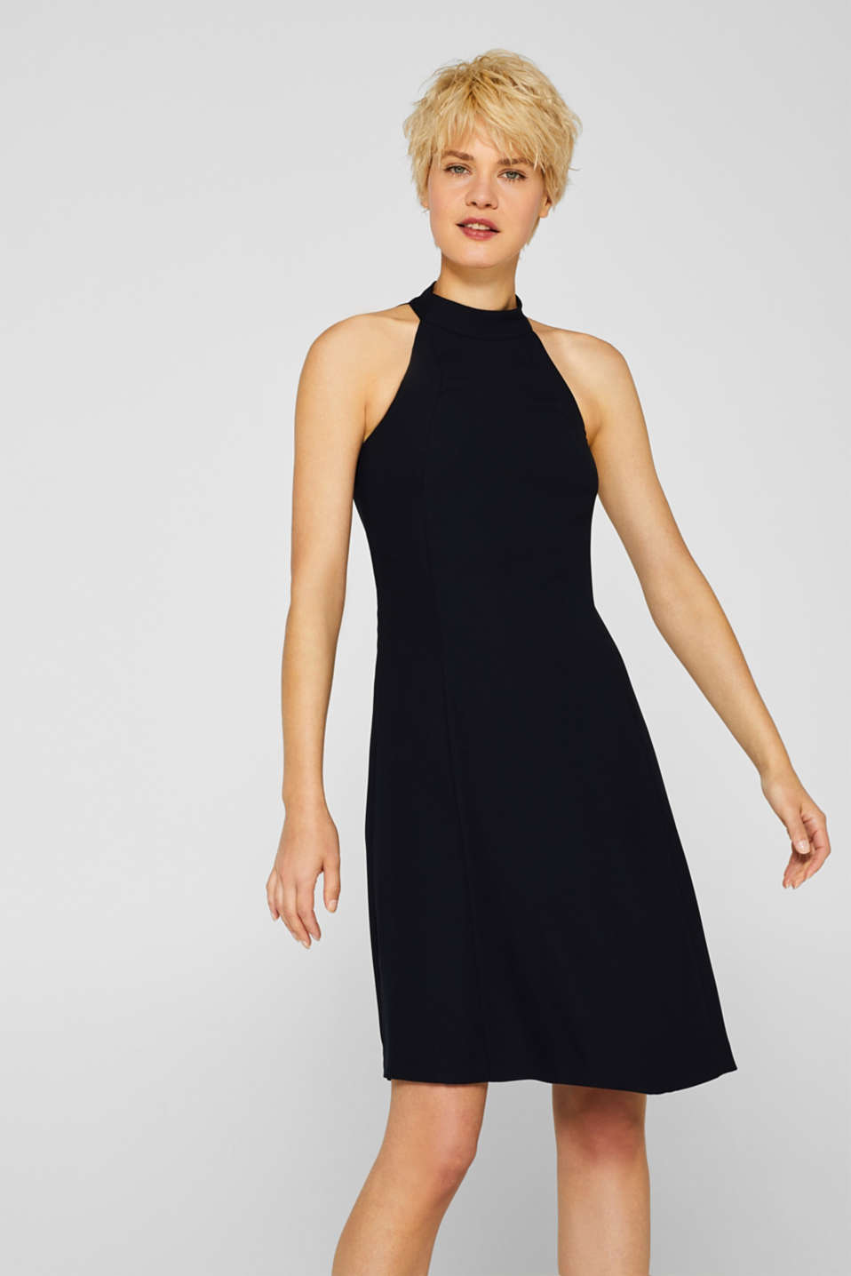 Crêpe dress with a sophisticated back and stretch, BLACK, detail image number 0