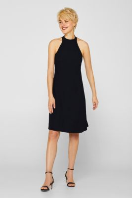 Crêpe dress with a sophisticated back and stretch, BLACK, detail