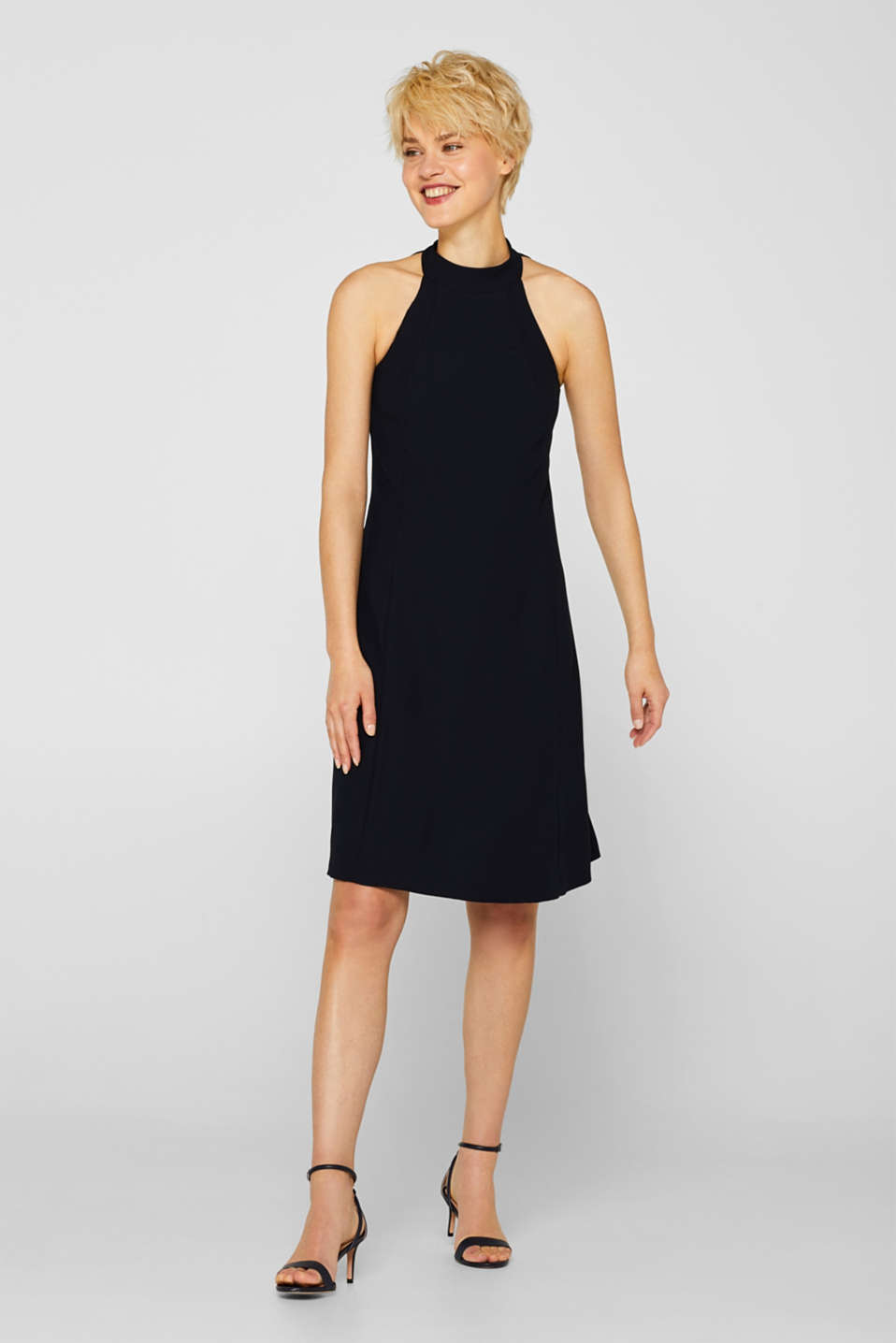 Crêpe dress with a sophisticated back and stretch, BLACK, detail image number 1