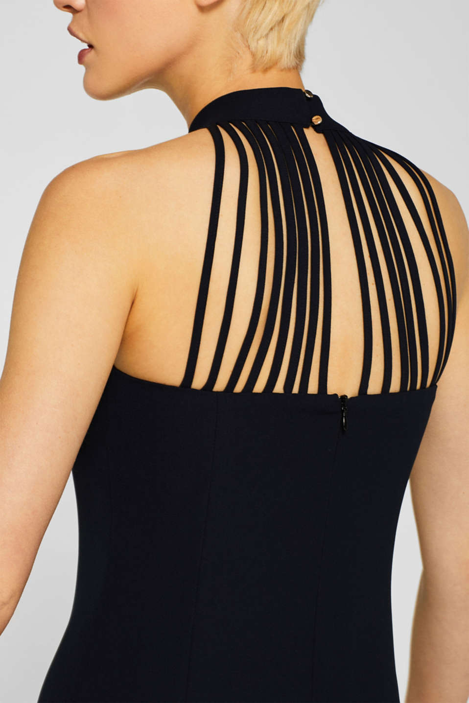Crêpe dress with a sophisticated back and stretch, BLACK, detail image number 6