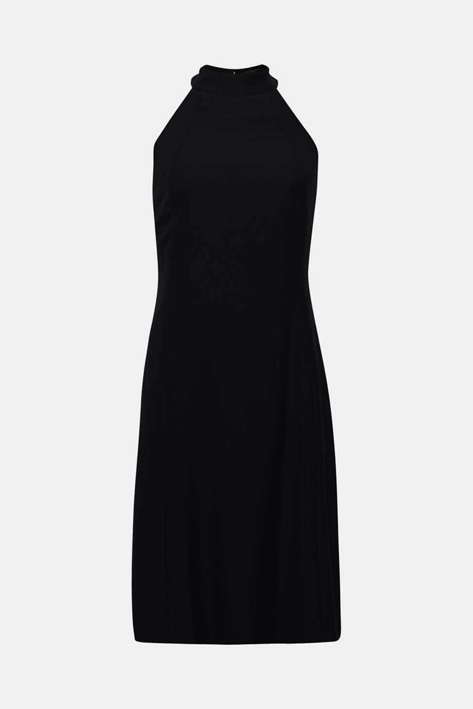 Crêpe dress with a sophisticated back and stretch, BLACK, detail image number 8