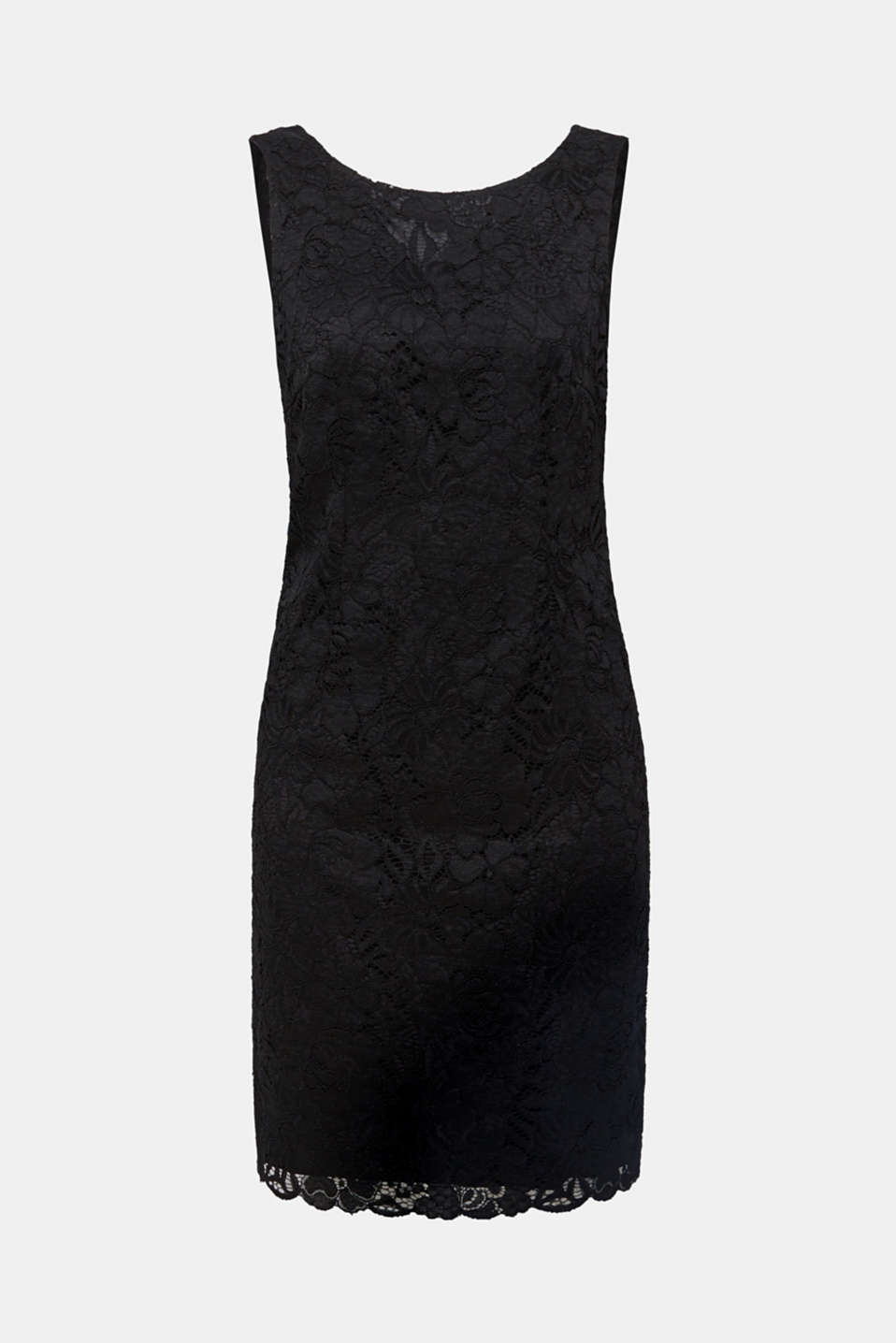 Sheath dress in lace with a cut-out, BLACK, detail image number 7