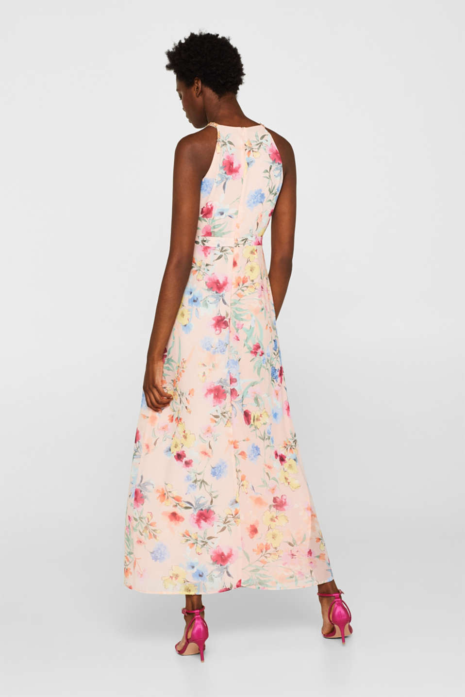 Floral printed chiffon maxi dress, PEACH, detail image number 2