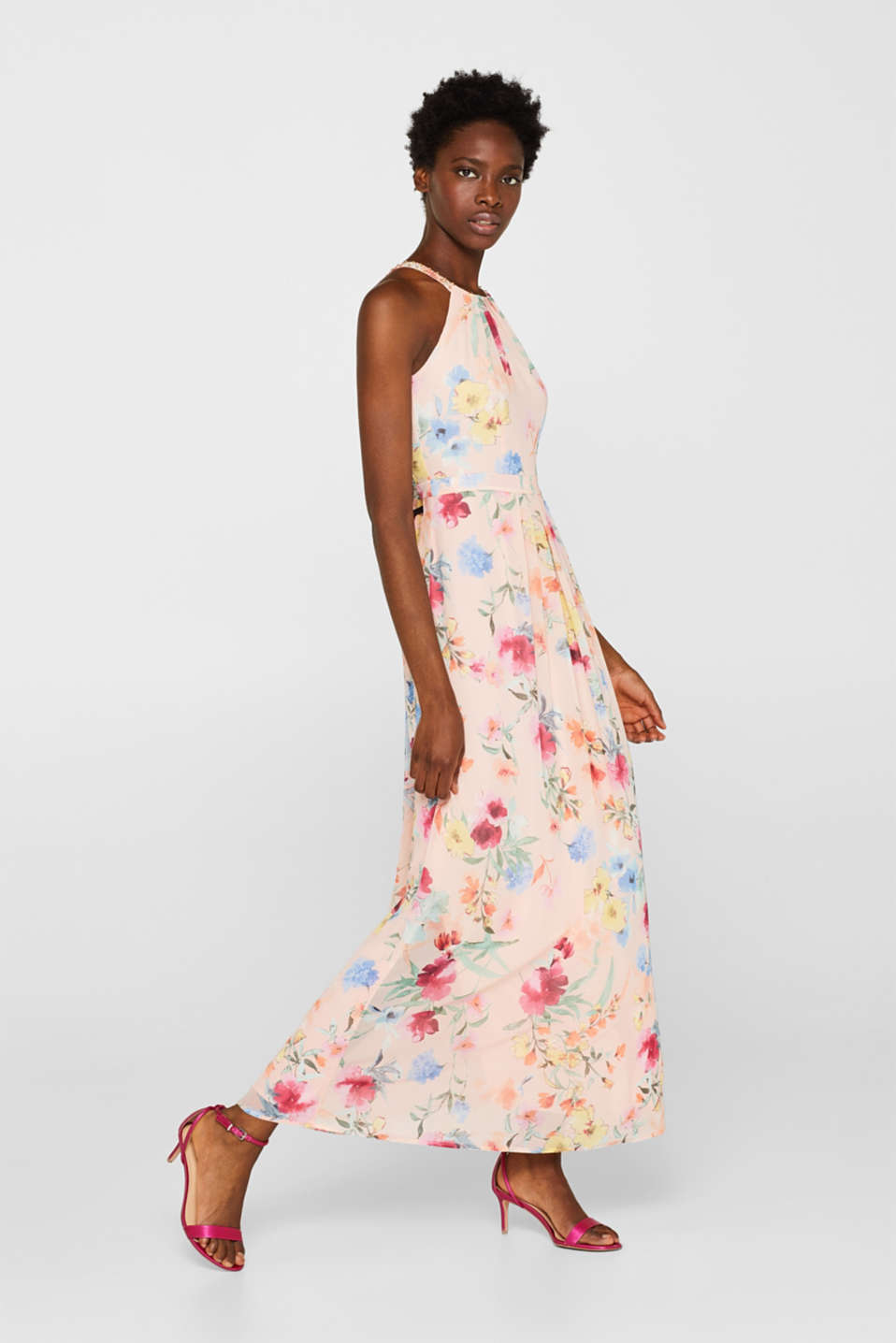Floral printed chiffon maxi dress, PEACH, detail image number 1