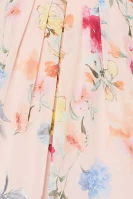Floral printed chiffon maxi dress, PEACH, detail