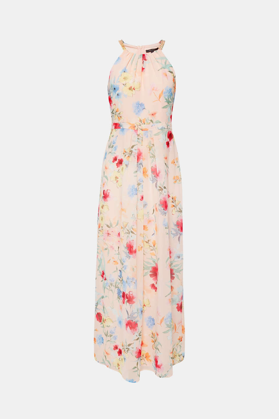 Floral printed chiffon maxi dress, PEACH, detail image number 5