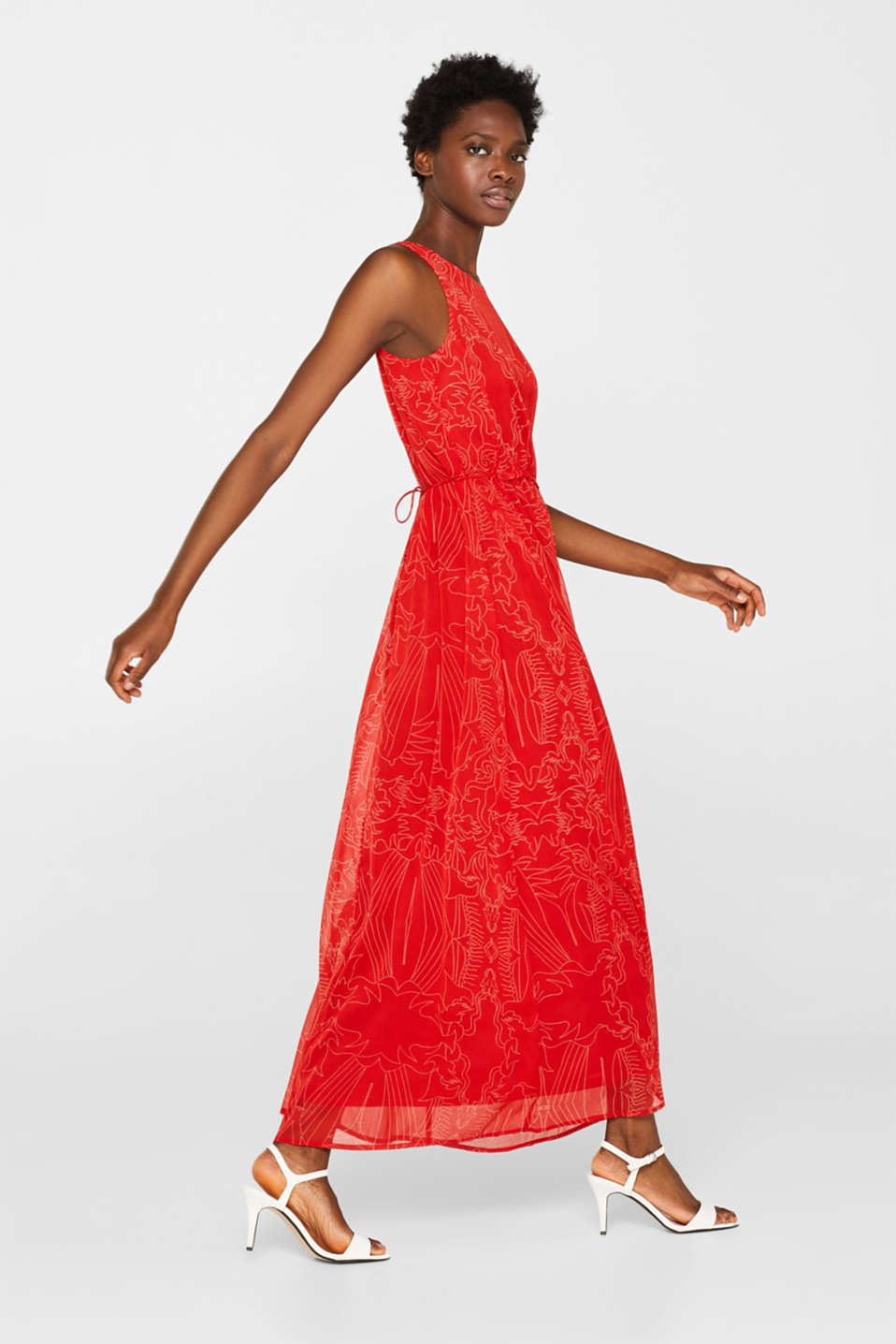 Maxi dress in chiffon with pretty details, ORANGE RED, detail image number 0