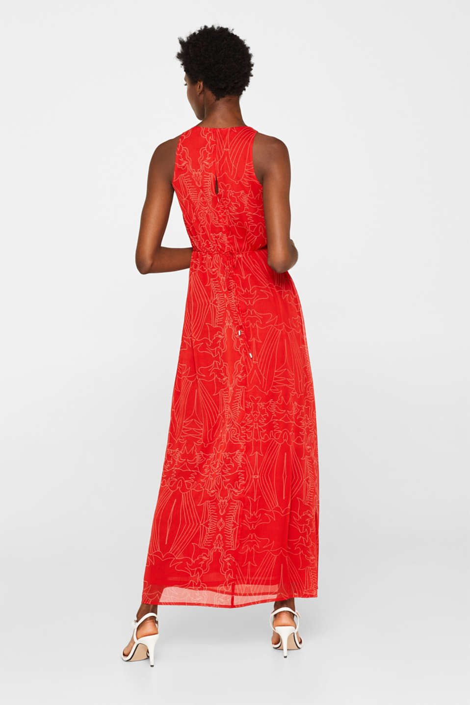 Maxi dress in chiffon with pretty details, ORANGE RED, detail image number 2