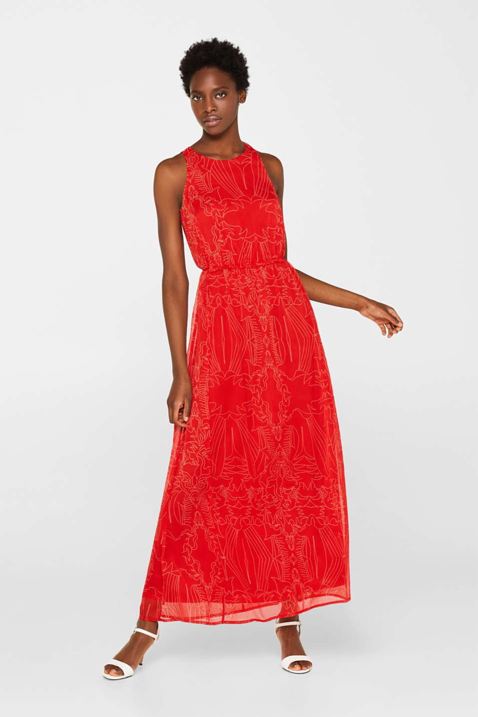 Maxi dress in chiffon with pretty details, ORANGE RED, detail image number 1