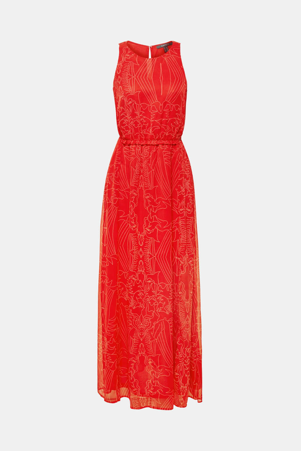 Maxi dress in chiffon with pretty details, ORANGE RED, detail image number 6