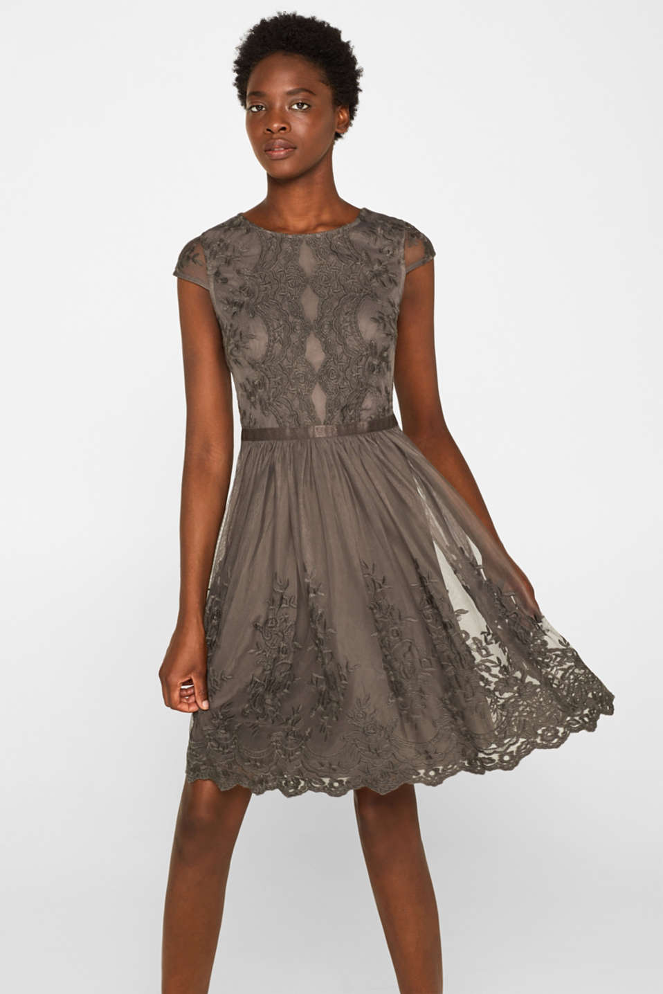 Tulle dress with tonal embroidery, TAUPE, detail image number 0