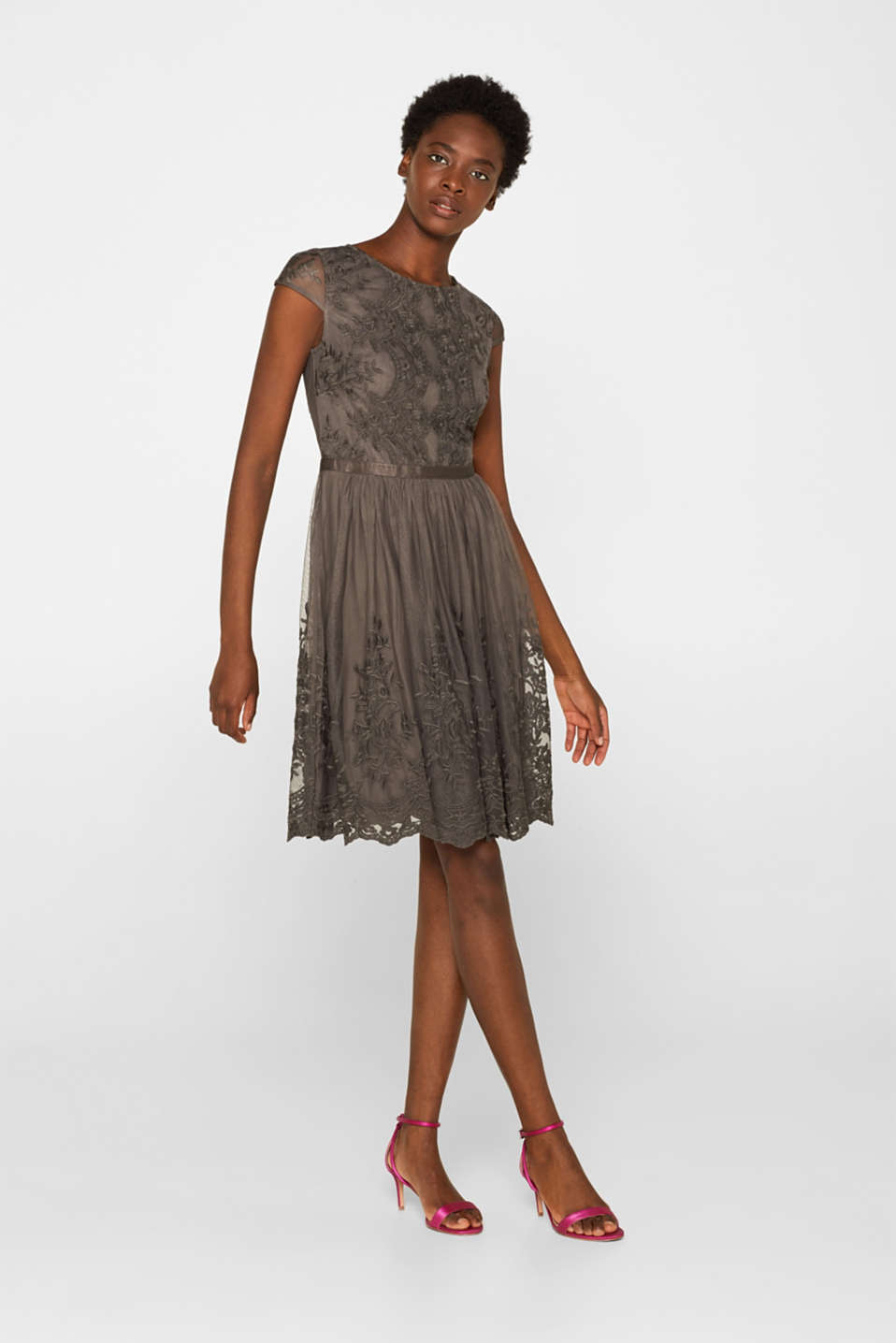 Tulle dress with tonal embroidery, TAUPE, detail image number 1