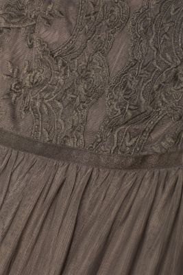 Tulle dress with tonal embroidery, TAUPE, detail