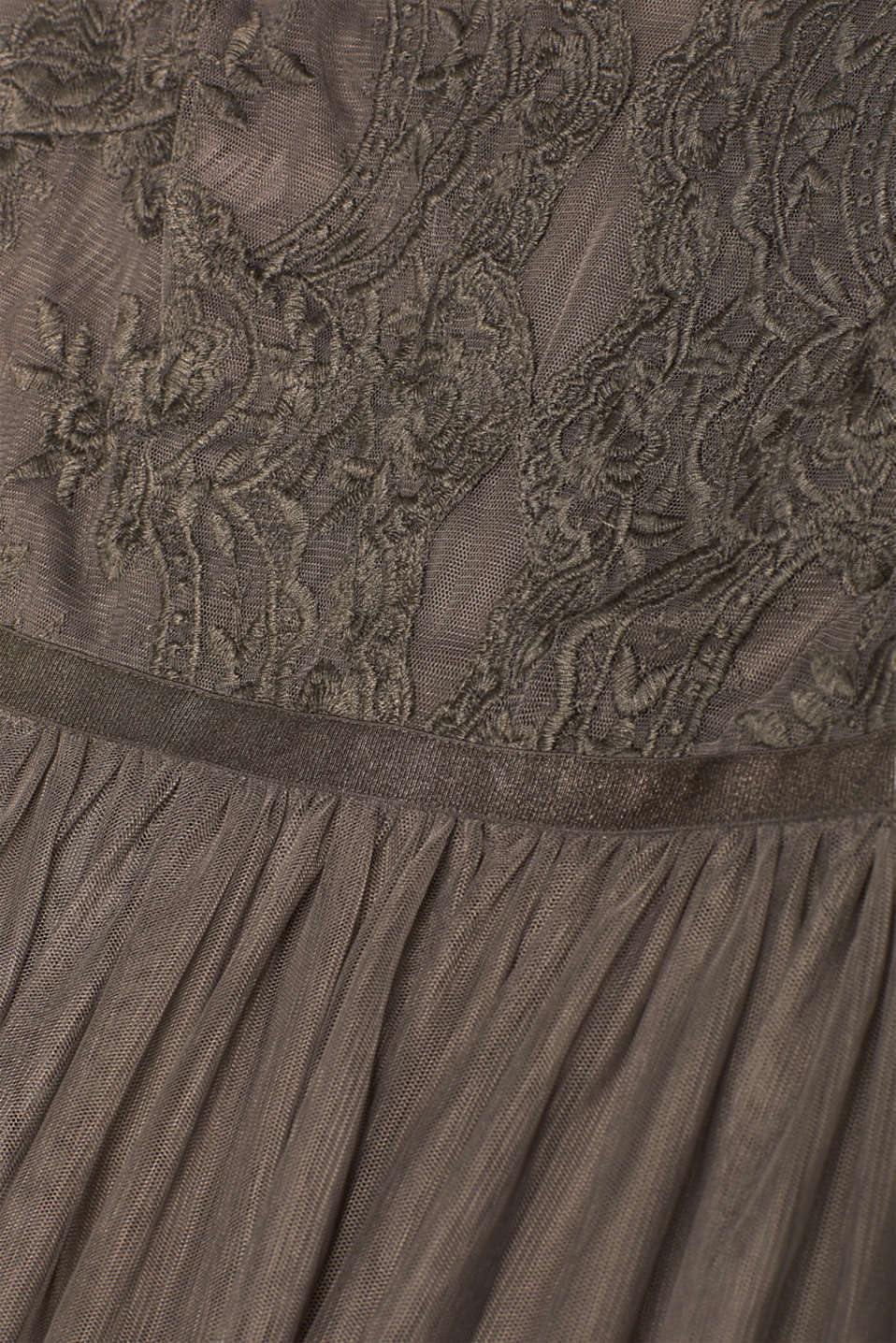 Tulle dress with tonal embroidery, TAUPE, detail image number 4