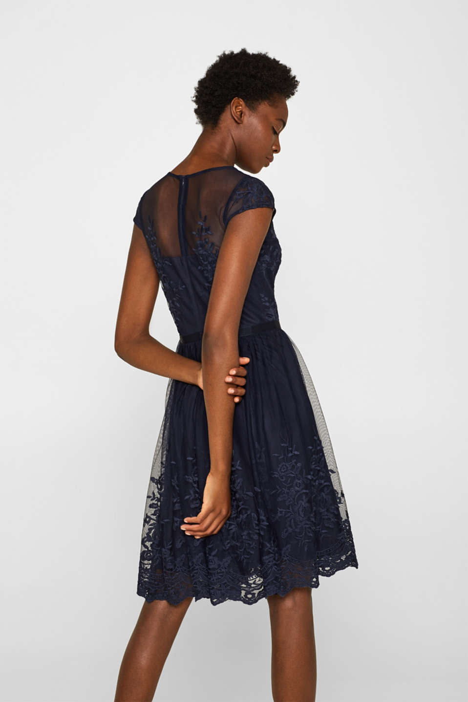 Tulle dress with tonal embroidery, NAVY, detail image number 1