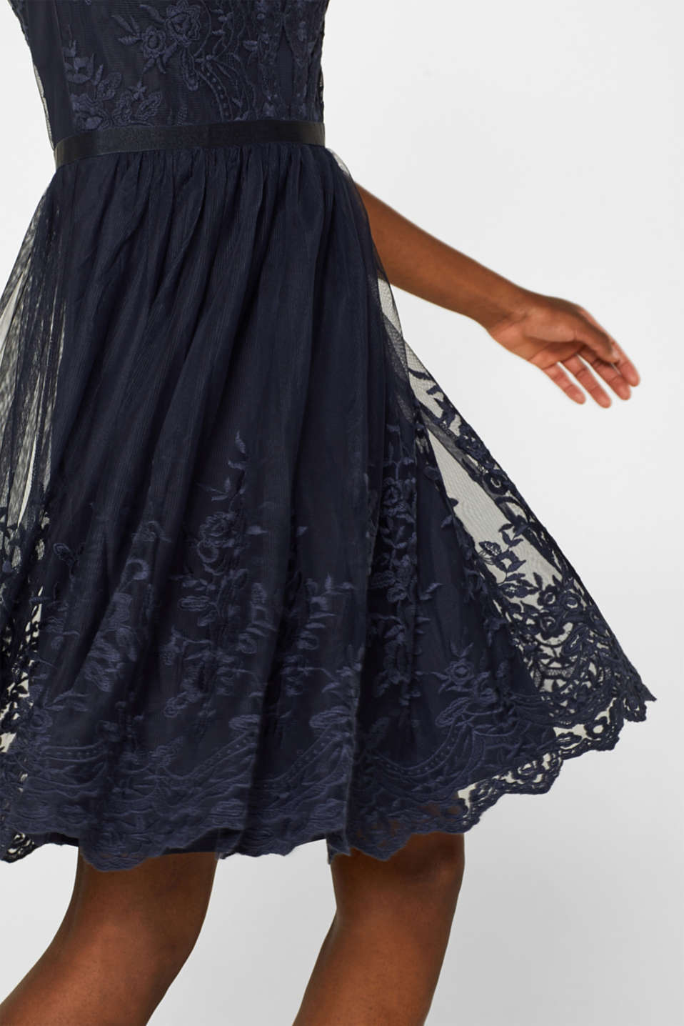 Tulle dress with tonal embroidery, NAVY, detail image number 2