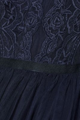 Tulle dress with tonal embroidery, NAVY, detail