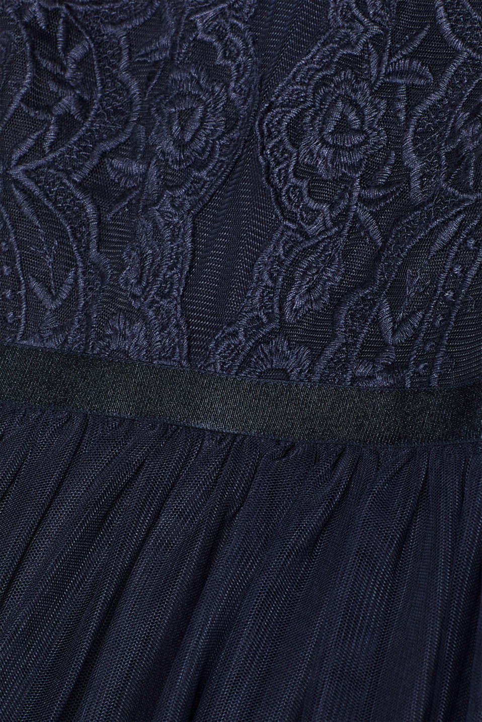 Tulle dress with tonal embroidery, NAVY, detail image number 3