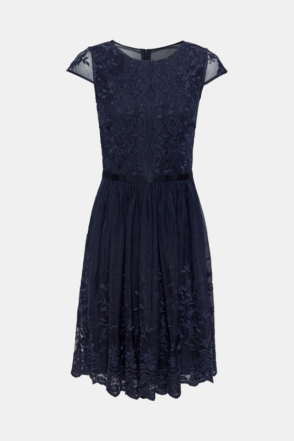 Tulle dress with tonal embroidery, NAVY, detail image number 4