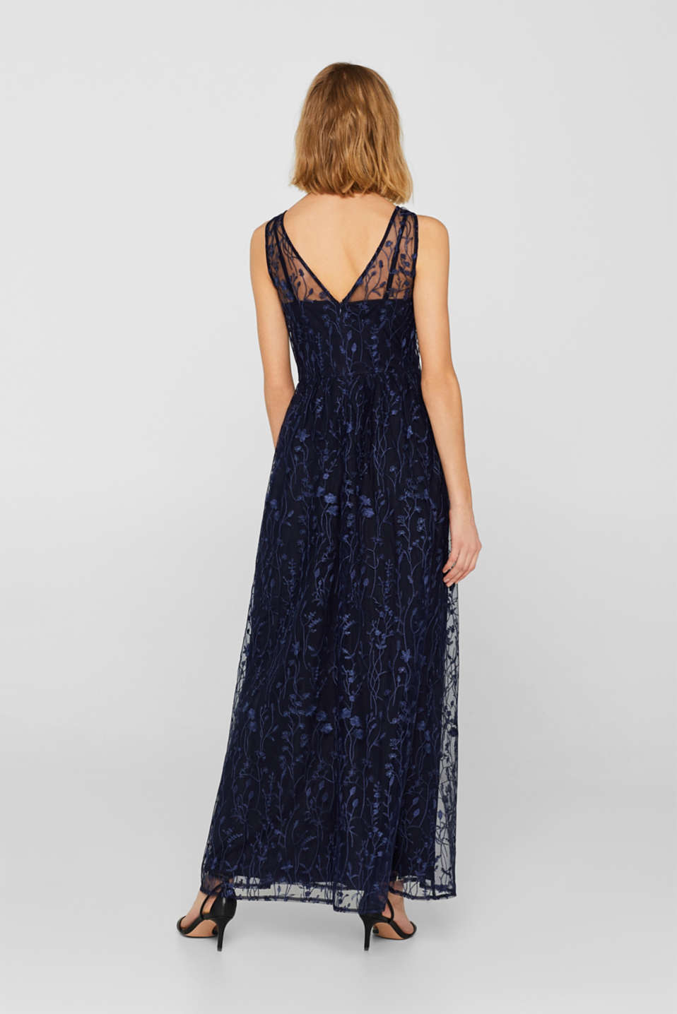 Chiffon maxi dress with floral embroidery, NAVY, detail image number 1