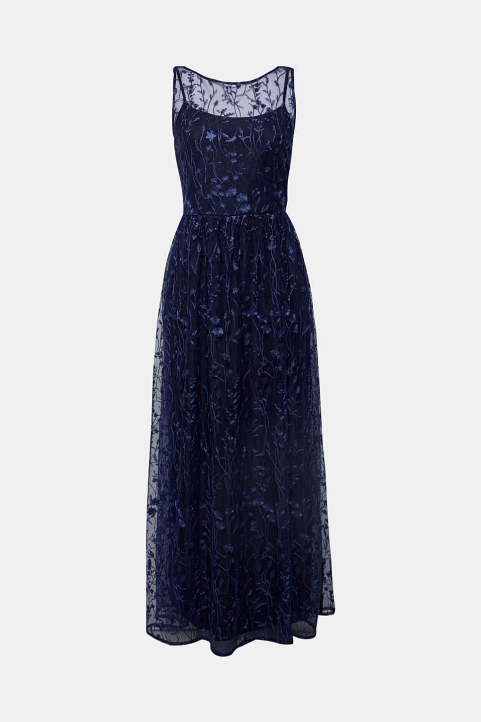 Chiffon maxi dress with floral embroidery, NAVY, detail image number 6