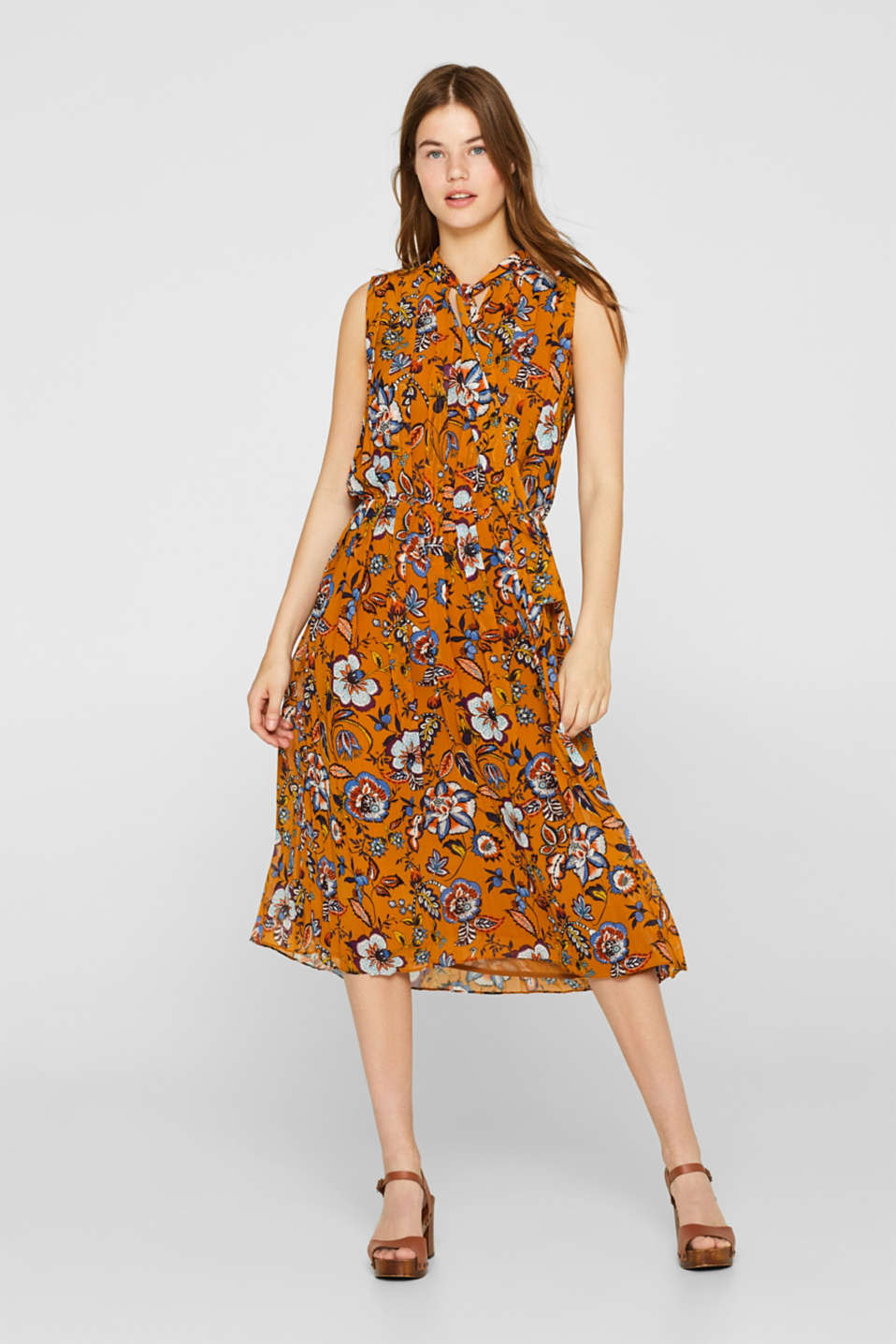 Esprit - Printed pleated dress with neck ties