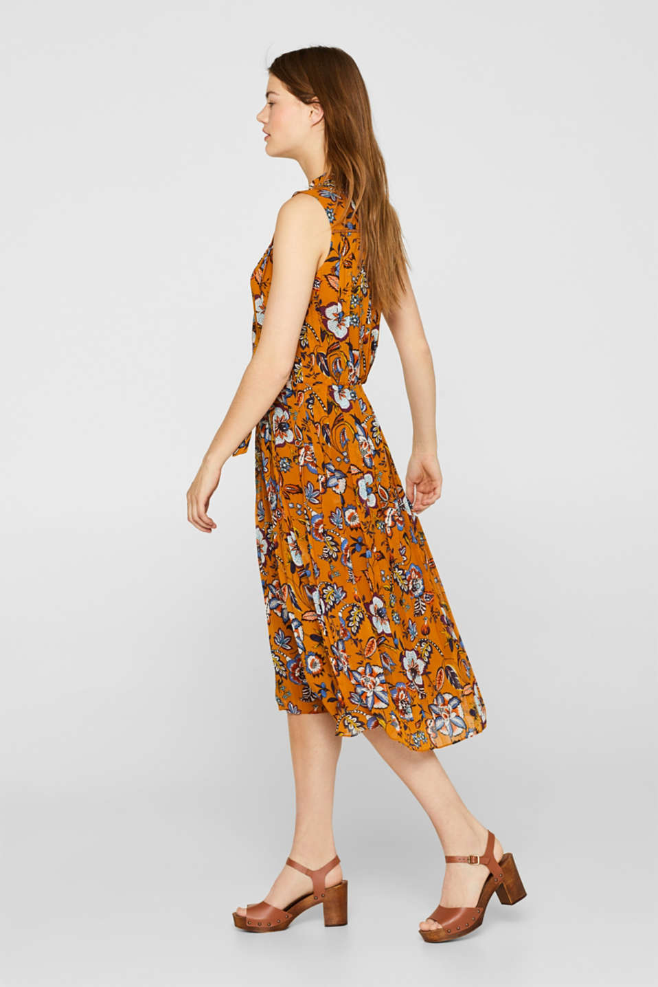 Printed pleated dress with neck ties