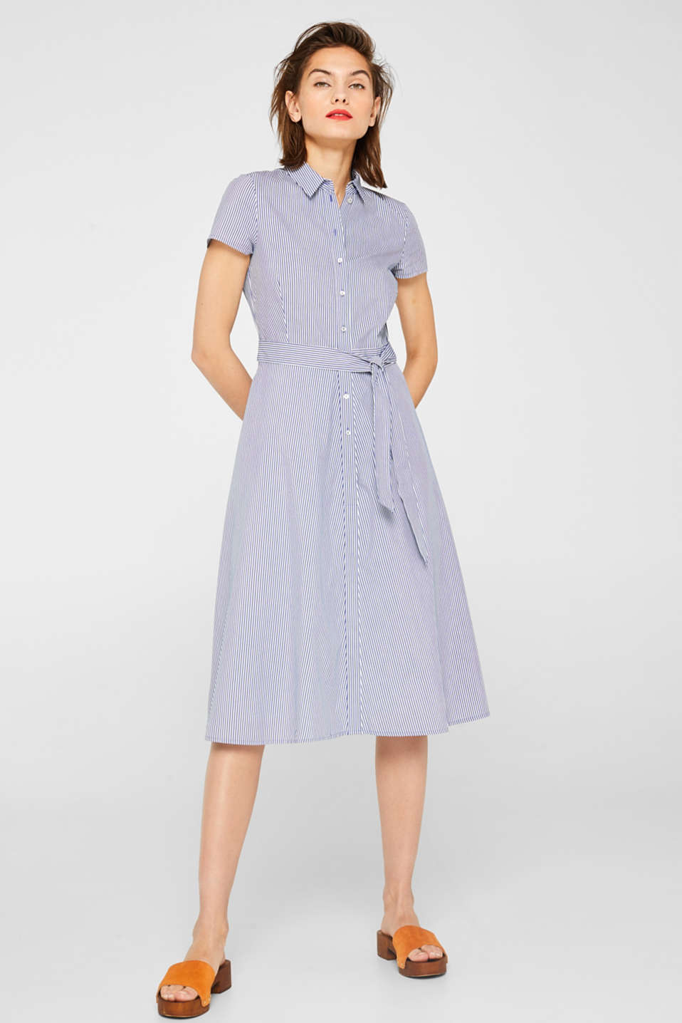 Shirt dress with stretch and stripes, LIGHT BLUE, detail image number 1