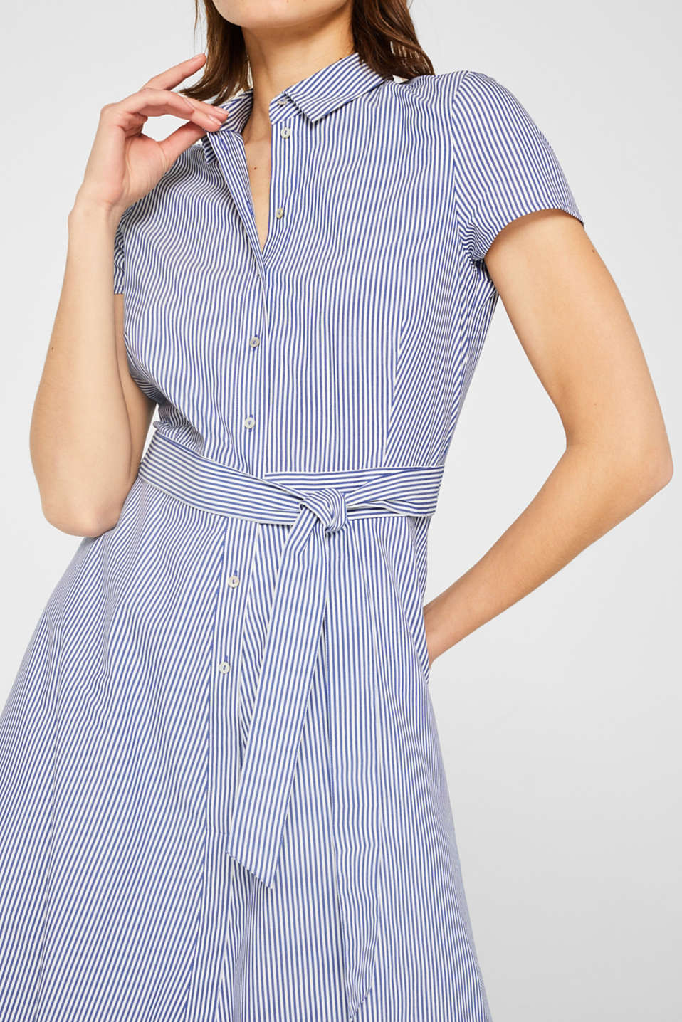 Shirt dress with stretch and stripes, LIGHT BLUE, detail image number 3